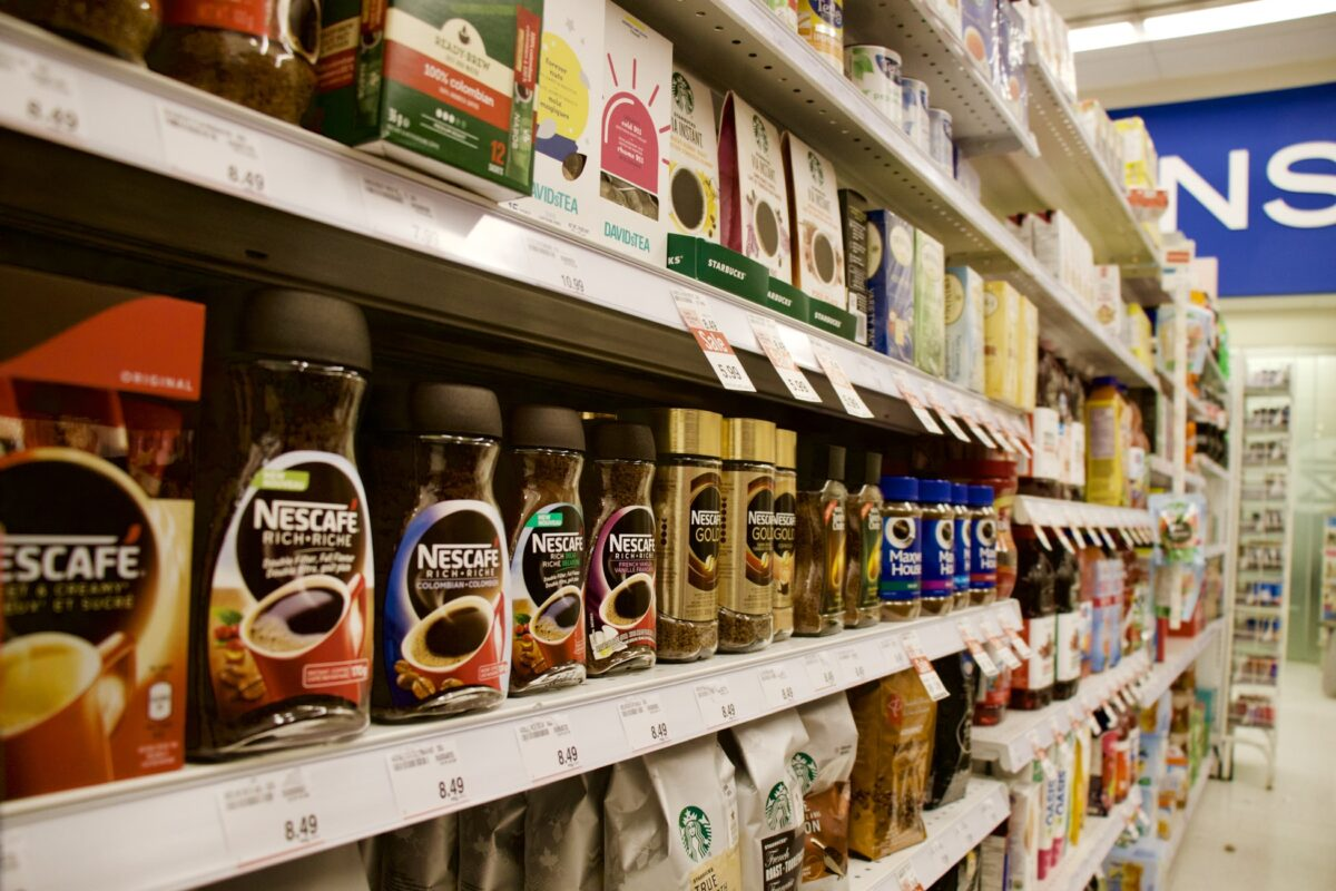 brands on a grocery retailer shelf